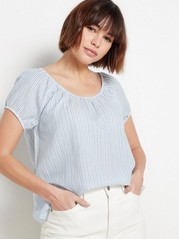 Short Sleeve Cotton Blouse  Blue