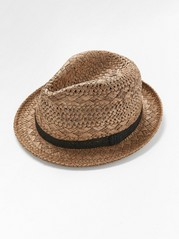 Straw hat with crochet ribbon  Brown