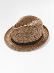 Slaměný klobouk sháčkovanou stuhou Hnědá