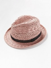 Straw hat with crochet ribbon  Pink