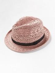 Slaměný klobouk sháčkovanou stuhou Růžová