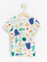 Mönstrad kortärmad t-shirt Vit