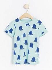 Mönstrad kortärmad t-shirt Turkos