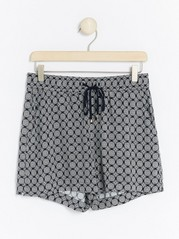 Patterned Viscose Shorts  Blue