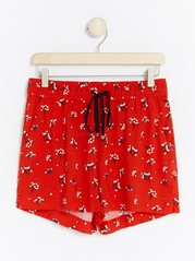 Patterned Viscose Shorts  Red