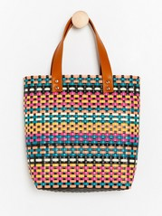 Multi-coloured Basket Weave Bag  Pink