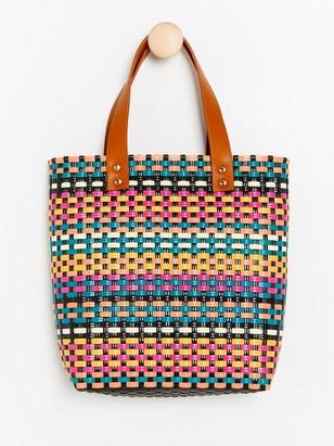 Pestrobarevná pletená kabelka Růžová