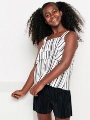Striped Sleeveless Blouse Black