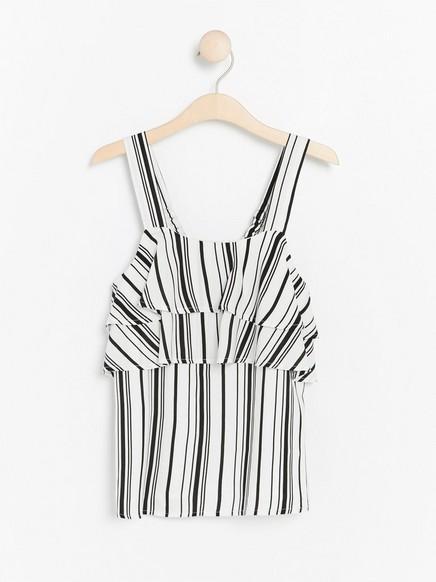 Stripet, ermeløs bluse Svart