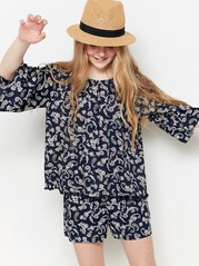 Patterned Blouse Blue