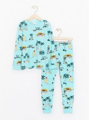 Pyjamas with Hawaii Pattern Turquoise