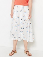 White Viscose Skirt with Pattern  White