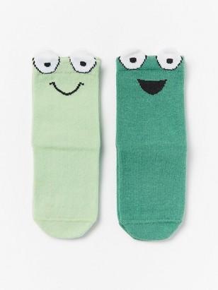 Sada 2párů ponožek smotivem žabek Zelená
