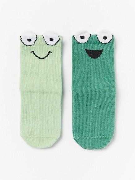 2-pakning sokker med frosker Grønn