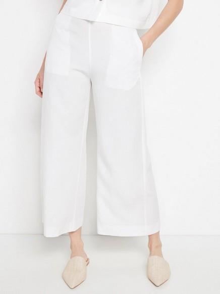 Korkeavyötäröiset, vajaamittaiset housut lyocell-sekoitetta Valkoinen