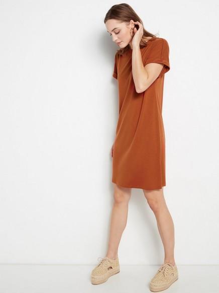 Lyhythihainen mekko lyocell-sekoitteesta Oranssi