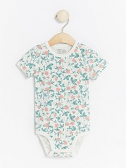 Floral patterned short sleeve bodysuit White