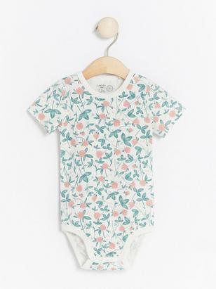 Floral patterned short sleeve bodysuit White