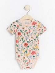 Floral patterned short sleeve bodysuit Pink