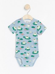 Short sleeve bodysuit with frogs Blue