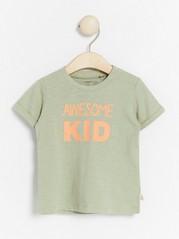 Slub jersey top with print Green