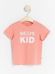 Slub jersey top with print Pink