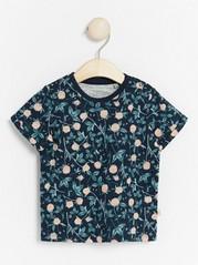 Slub jersey top with print Blue