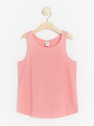 Tank Top with Crochet Detail Pink