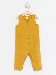 Jumpsuit in Woven Cotton Yellow