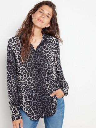 Patterned viscose shirt  Black