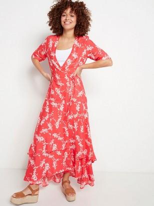 Dlouhé červené zavinovací šaty Červená