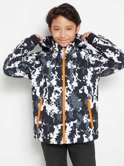 Kuvioitu softshell-takki Musta