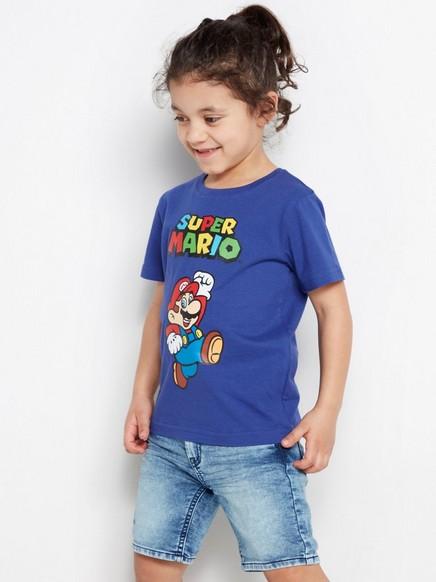 T-skjorte med Super Mario-trykk Blå