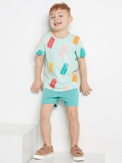 Set with t-shirt and shorts Turquoise