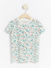 Floral patterned short sleeve top White