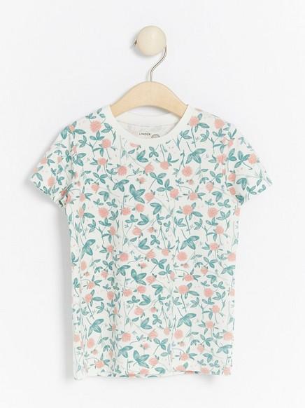 Lyhythihainen pusero, jossa kukkakuviointi Valkoinen
