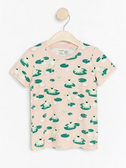 Short sleeve top with frogs Pink