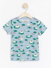 Short sleeve top with frogs Blue