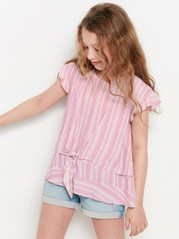 Viscose Blouse with Tie Front Pink