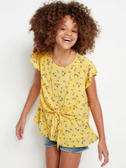 Viscose Blouse with Tie Front Yellow