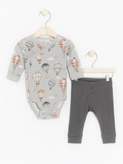 Set with Wrap Bodysuit and Leggings Grey
