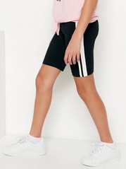Biker Shorts with Side Stripes Black