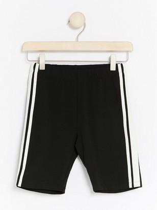 Biker Shorts with Side Stripes Black