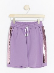 Jersey Shorts with Reversible Sequins Lilac