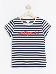 Striped top with print  White