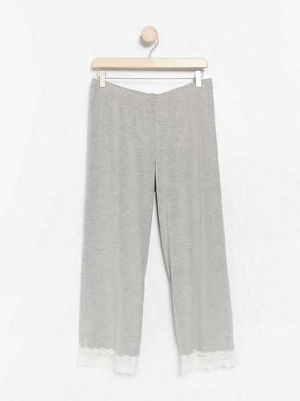 Grå pyjamasbukse i lyocellblanding Grå
