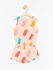 Sleeveless jumpsuit with ice cream Red