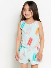 Sleeveless jumpsuit with ice cream Turquoise
