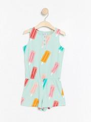 Sleeveless jumpsuit with ice cream Turquoise