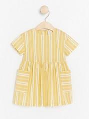 Striped woven cotton dress Yellow